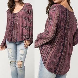 O'Neill Mulberry Pink Knit Ariel Boho Peasant Top